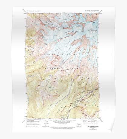 USGS Topo Map Washington State WA Mt Rainier West 242658 1971 24000 Poster