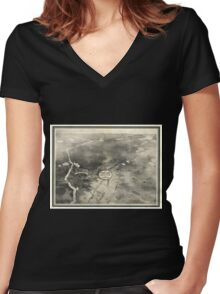 Panoramic Maps Brainerd City of Mines Women's Fitted V-Neck T-Shirt