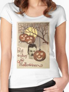 Best wishes (Vintage Halloween Card) Women's Fitted Scoop T-Shirt