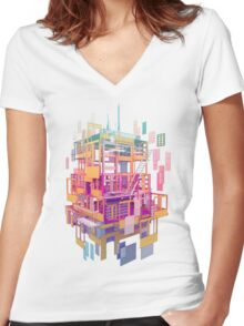 Building Clouds Women's Fitted V-Neck T-Shirt