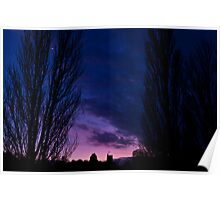 Sunset, moon rise - Cosgrove, Northamptonshire Poster