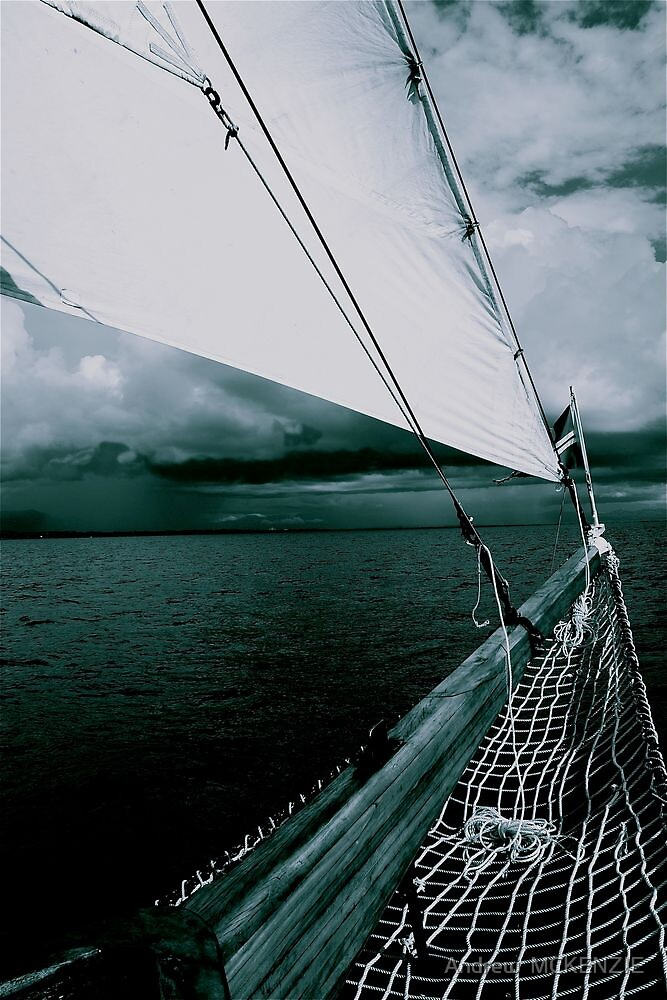 Sailing into a Storm Black and White by Andrew  MCKENZIE