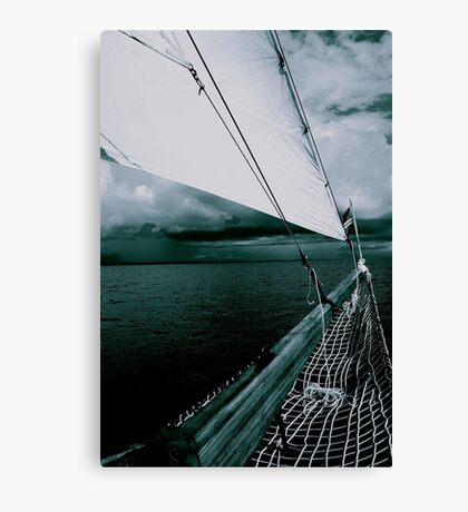 Sailing into a Storm Black and White Canvas Print