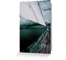 Sailing into a Storm Black and White Greeting Card
