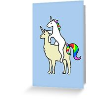 Unicorn Riding Llamacorn Greeting Card