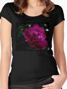 Dark Pink Peony Women's Fitted Scoop T-Shirt