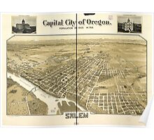 Panoramic Maps Capital city of Oregon Salem Poster