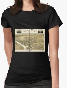 Panoramic Maps Capital city of Oregon Salem Womens Fitted T-Shirt