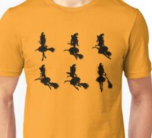 Witch with Broom Silhouette Unisex T-Shirt