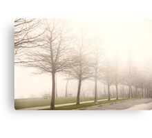 Foggy Sidewalk Scene Canvas Print