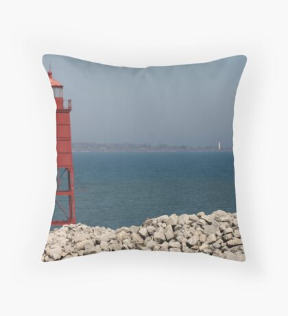 Red Watch Tower Throw Pillow