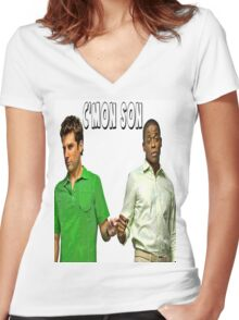 """Psych """"C'mon Son""""  Women's Fitted V-Neck T-Shirt"""