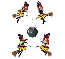 Dark Witch with Broom Photographic Print