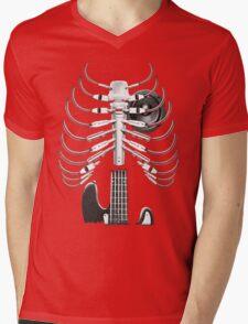 Guitar Skeleton Microphone Rock Music Lovers Mens V-Neck T-Shirt
