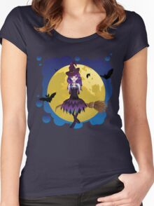 Witch and Full Moon Women's Fitted Scoop T-Shirt