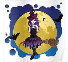 Witch and Full Moon Poster