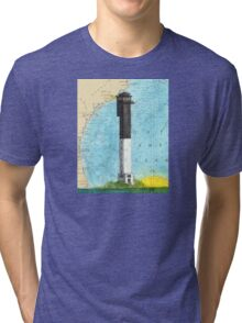 Sullivans Island Lighthouse SC Nautical Map Peek Tri-blend T-Shirt