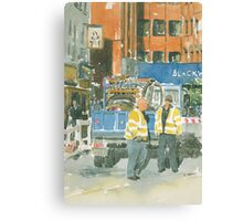 Road works, Old Compton Street, London Canvas Print