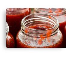 Strawberry jam cooking fill the jam Canvas Print