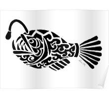 Angler Fish Tribal Design  Poster