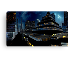Reflections of Night - Metropolis Moon Canvas Print