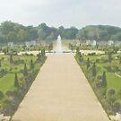 Hampton Court Gardens Photo/Watercolour by JohnYoung