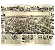 Panoramic Maps Bird's eye view Placerville Cal Poster