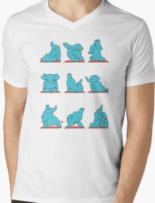 Elephant Yoga Mens V-Neck T-Shirt
