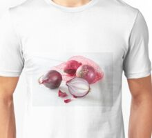 Shallots in the net on white wooden table Unisex T-Shirt