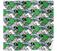 Horned Warrior Friends pattern (unicorn, narwhal, triceratops, rhino) Poster