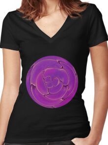 Purple Cells Women's Fitted V-Neck T-Shirt