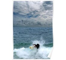 Surfing Under The Clouds Poster