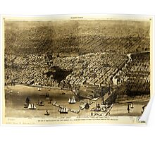Panoramic Maps The City of Chicago showing the burnt district Poster