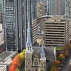 Downtown Skyscrapers and Cathedral from Harbour Tower, Vancouver City, Canada by Carole-Anne