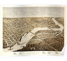Panoramic Maps Appleton Outagamie County Wisconsin 1867 Poster