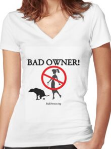 BadOwner Clothes - Sick of the Poo Women's Fitted V-Neck T-Shirt