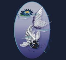 White Koi-Blue Lily Oval by Lotacats