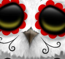 Cute Red Day of the Dead Sugar Skull Owl Sticker