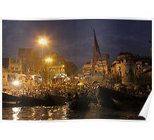 Evening prayer at Varanasi Poster