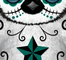 Teal Blue Day of the Dead Sugar Skull Penguin  Sticker