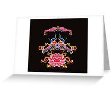 Floral colorful mirror ornamenton blach background Greeting Card