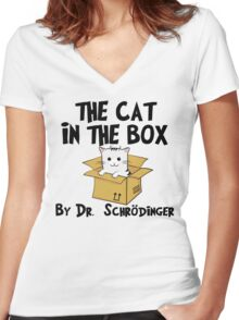 The Cat In The Box By Dr Schrodinger T Shirt Women's Fitted V-Neck T-Shirt