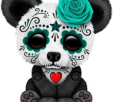 Teal Blue Day of the Dead Sugar Skull Panda  by Jeff Bartels