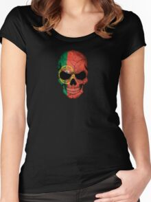Portuguese Flag Skull Women's Fitted Scoop T-Shirt