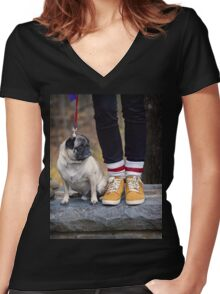Cutest Pug Women's Fitted V-Neck T-Shirt