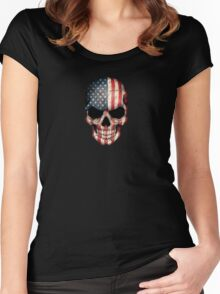 American Flag Skull Women's Fitted Scoop T-Shirt