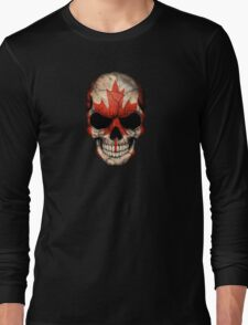 Canadian Flag Skull Long Sleeve T-Shirt