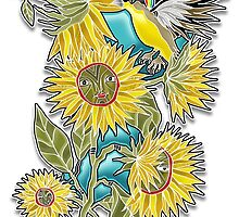 finch sunflowers by arteology