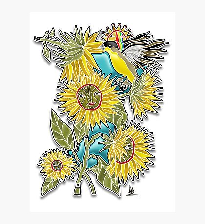 finch sunflowers Photographic Print