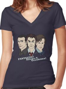 New Who Doctors: FANTASTIC! Allons-Y, Geronimo! Women's Fitted V-Neck T-Shirt
